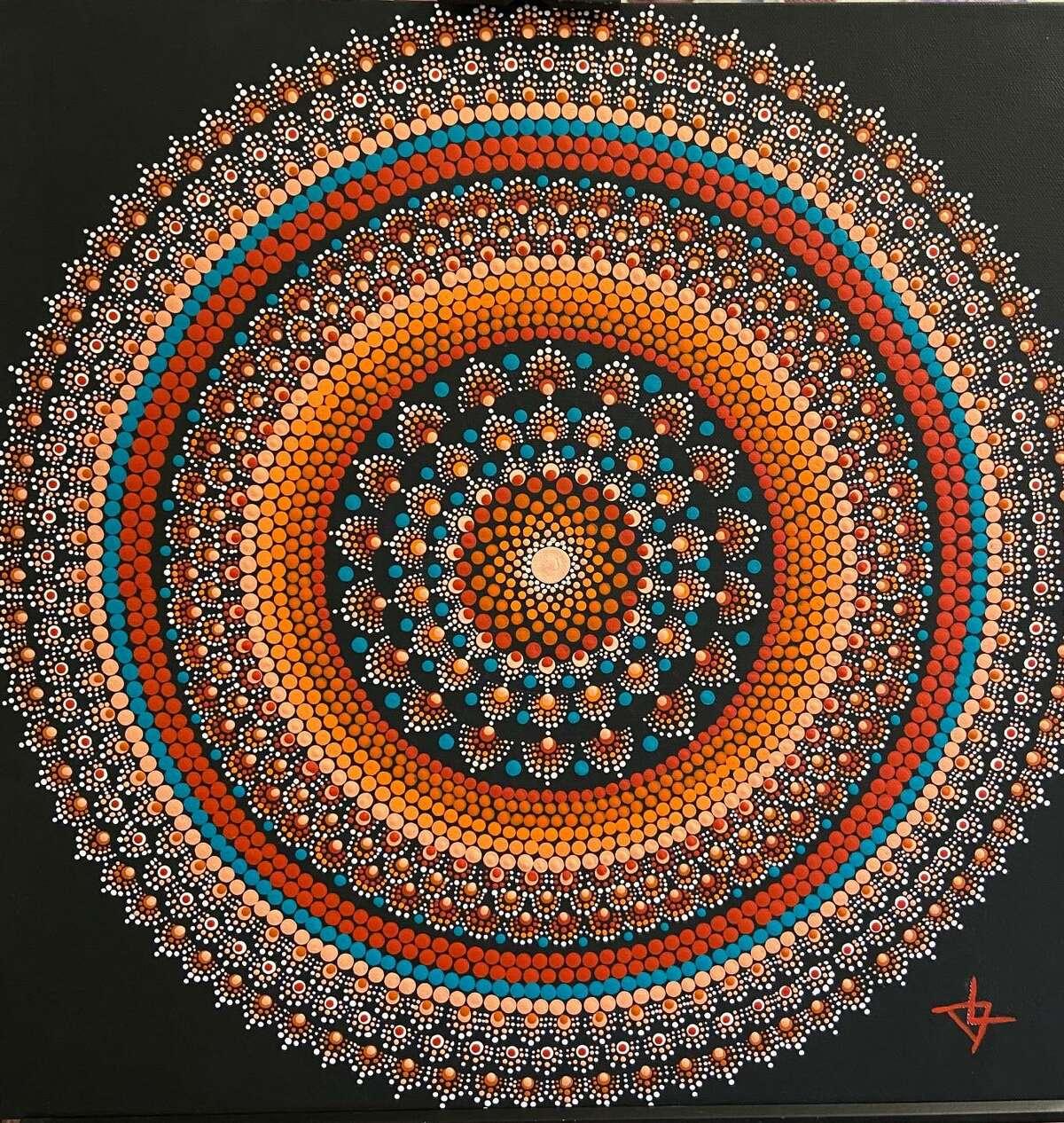 The Summer Arts Festival on the Essex Town Green will be held June 19-20. Pictured, Orange & Teal Fibonacci & Circles Mandala, acrylic, By Deborah Churchill.