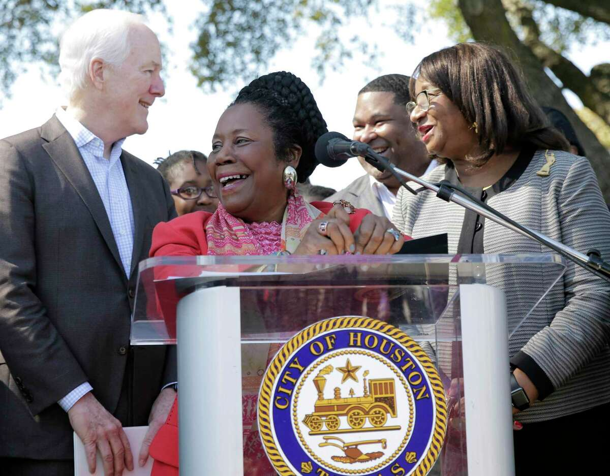 U.S. Congresswoman Sheila Jackson Lee (TX-18) addresses attendees with U.S. Sen. John Cornyn (R-TX) about the announcement of signing of the Emancipation Heritage Trail Feasibility Study at Emancipation Park in Houston on Friday, March 6.