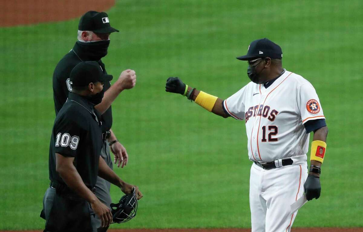 MLB's crackdown on the use of foreign substances by pitchers might test friendly relations between managers, including the Astros' Dusty Baker (12), and umpires.