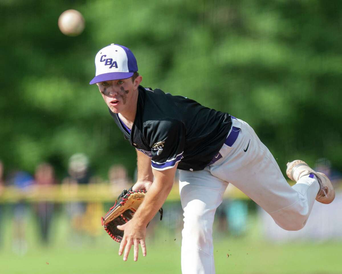 Christian Brothers starting pitcher CJ Kuentzel against Shaker during the Class AA baseball finals at CBA in Colonie, NY, on Tuesday, June 15, 2021 (Jim Franco/Special to the Times Union)