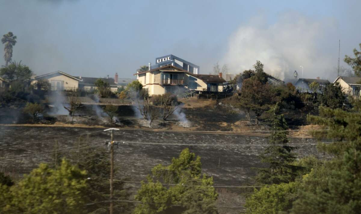 A brush fire off of Skyline Drive in Vallejo threatens homes on Tuesday, June 15, 2021.