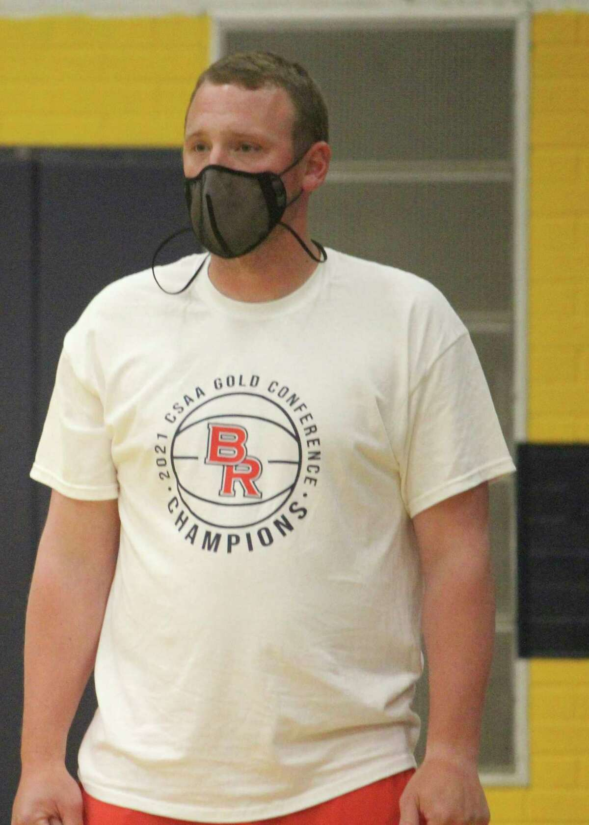 Big Rapids assistant boys basketball coach Blake Thomas watches the action during a scrimmage on Monday at Baldwin. (Pioneer photo/John Raffel)