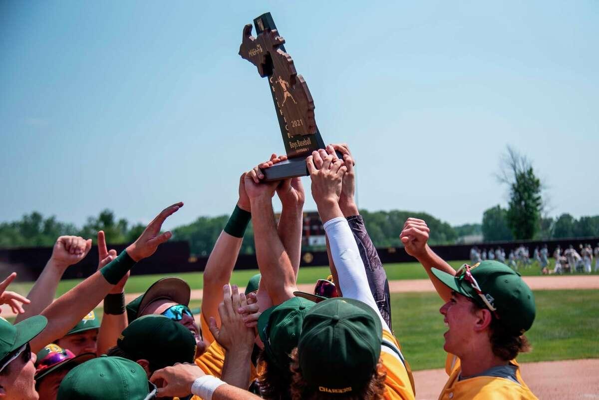 Dow High's baseball team celebrates its regional championship on Saturday at Central Michigan University. (Daily News file photo)