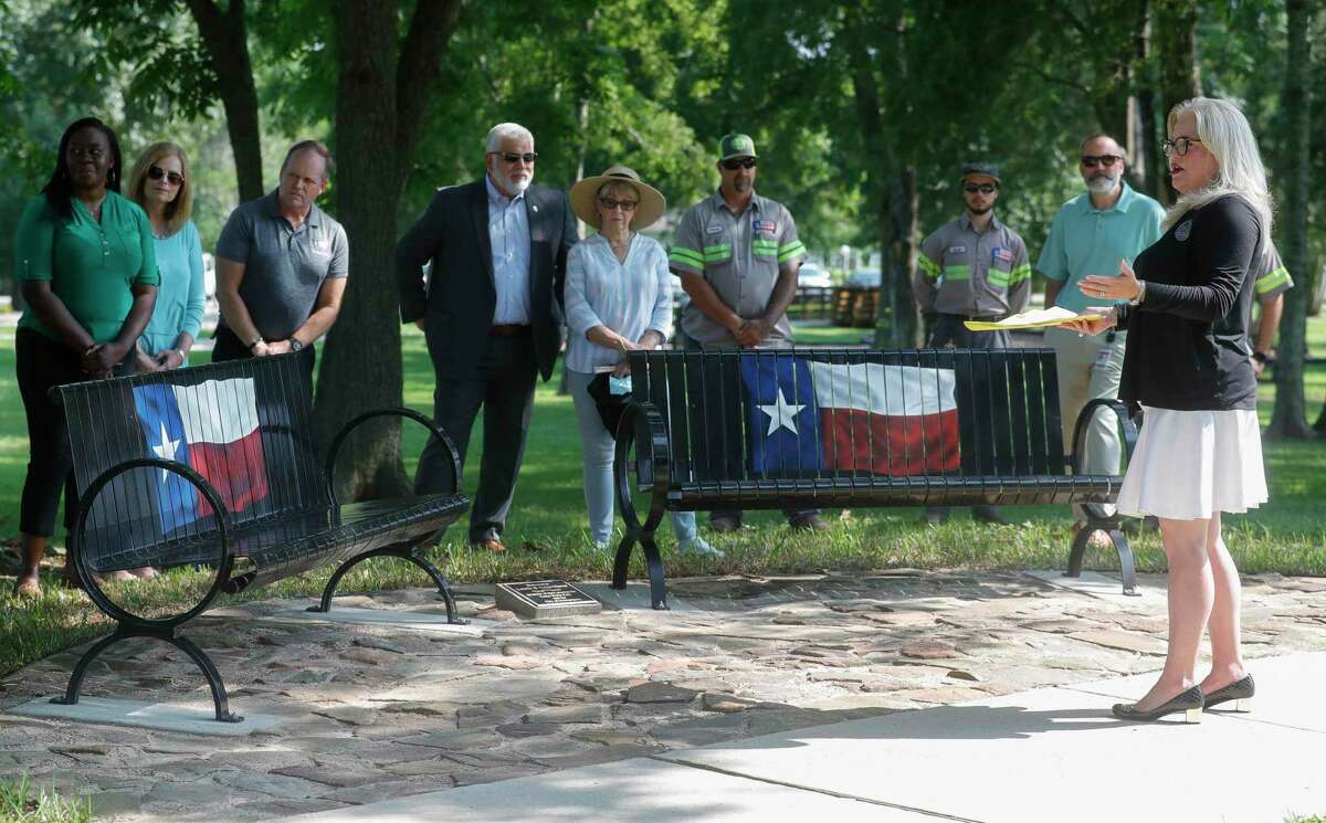 Montgomery Mayor Sara Countryman talks about the Lonnie and Sonya Clover's contributions to Cedar Brake Park as they two were honored with a pair of Texas-themed benches at the park, Tuesday, June 15, 2021, in Montgomery.