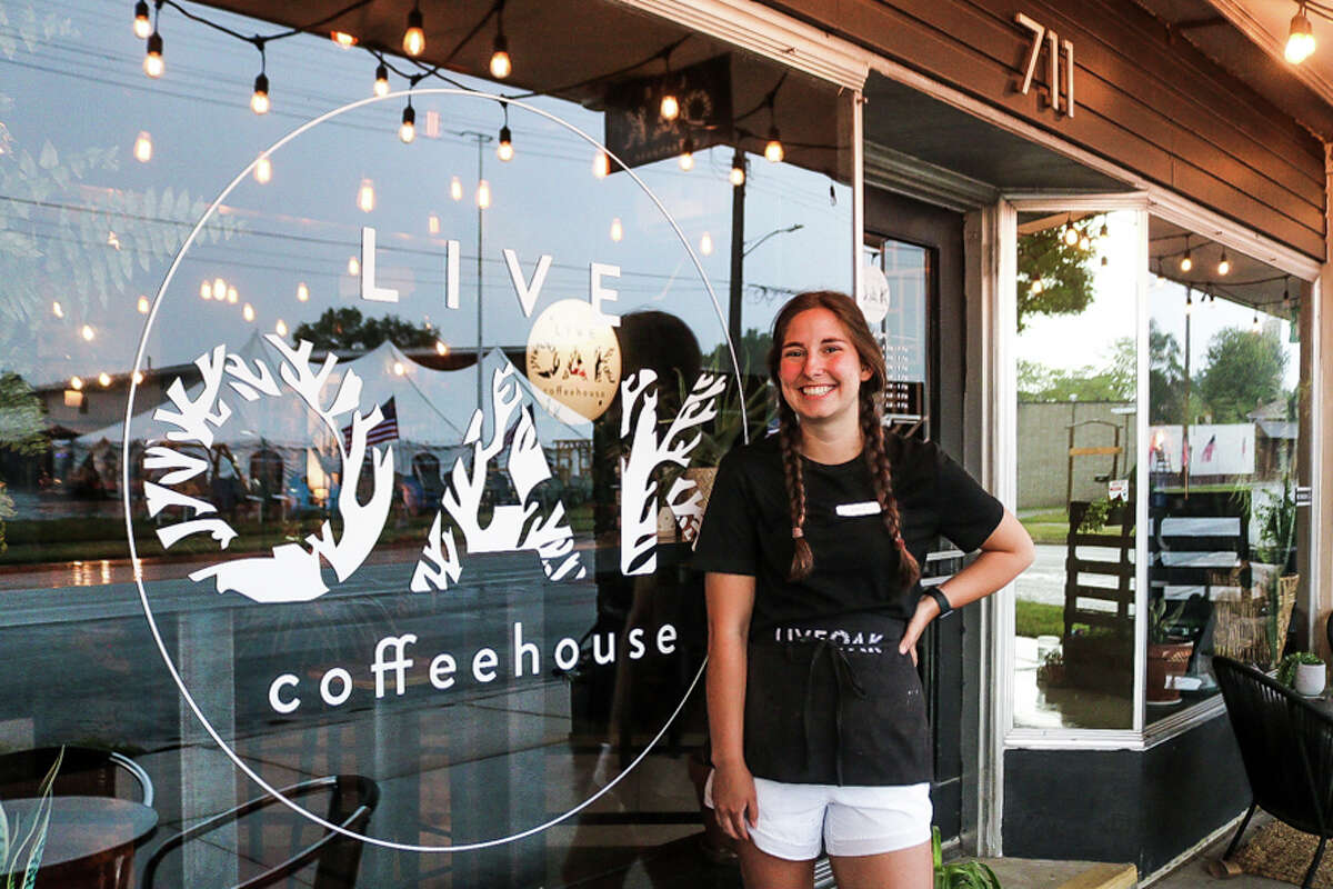 Julie Martin, a barista at Live Oak Coffeehouse, poses for a portrait Monday, June 14, 2021 at the coffee shop in Midland. (Aurora Abraham/aurora.abraham@hearstnp.net)