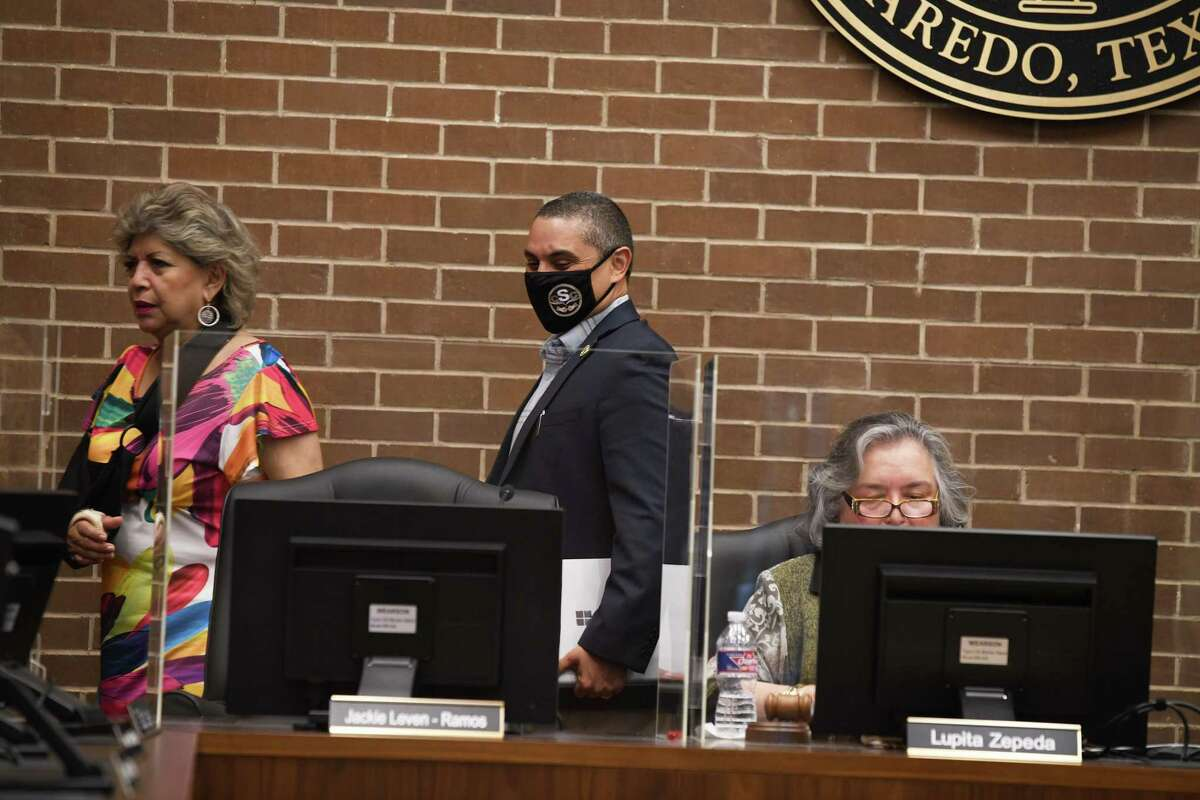 Laredo College board trustees step away from the board room for an executive session to discuss the selection process of an interim LC president.