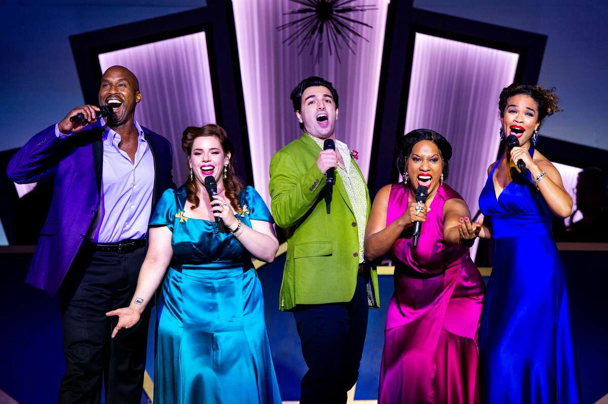"""From left Alan H. Green, Alysha Umphress, Jacob Tischler, Allison Blackwell and Britney Coleman in """"Who Could Ask For Anything More? The Songs of George Gershwin,"""" the season-opening production for Barrington Stage Company in Pittsfield, Mass. It runs June 10 to July 3, 2021. (Daniel Rader/BSC.)"""
