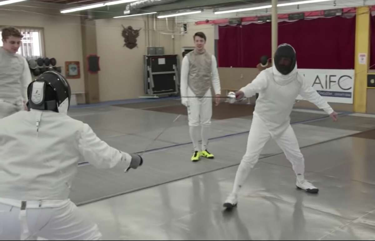 """San Francisco Olympians appear on """"Jimmy Kimmel Live"""" to teach the hosts to fence."""