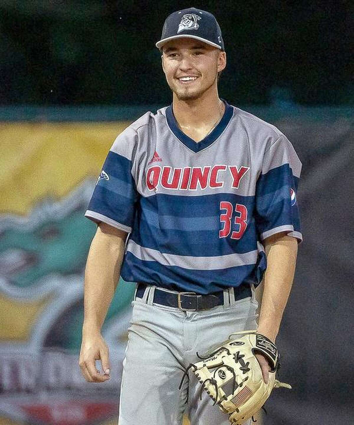 Jayce Maag of the Quincy Gems is a graduate of Marquette High and a former player for the Alton Post 126 American Legion baseball team and plays at Lindenwood University. He played a pair of games for the Gems last week in Alton against the River Dragons.