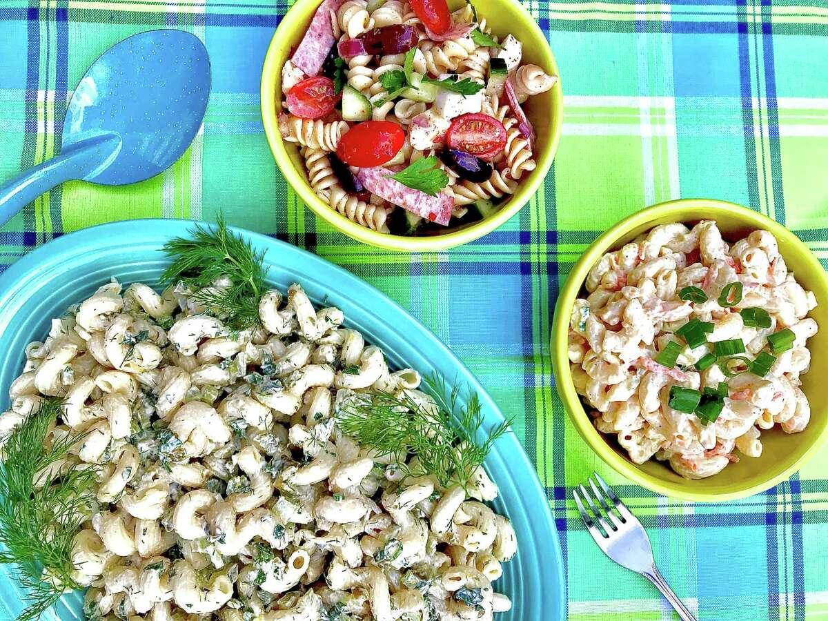 Macaroni and pasta salads from left, Macaroni Salad with Lemon and Herbs, Easiest Pasta Salad, Hawaiian Macaroni Salad.