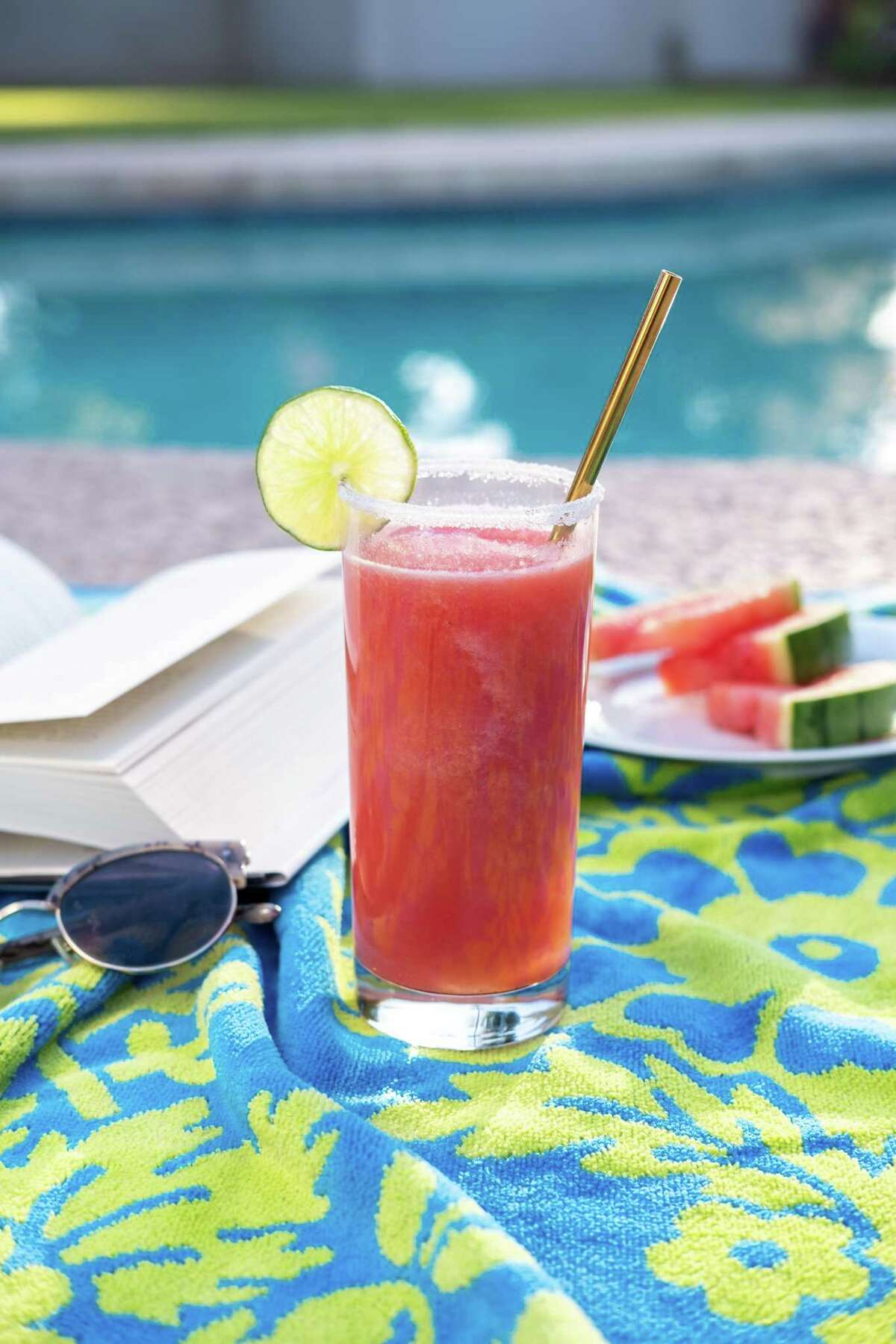 """The Watermelon Sugar Slushy from """"The Hard Seltzer Cocktail Book: 55 Unofficial Recipes for White Claw Slushies, Truly Mixers, and More Spiked-Seltzer Drinks"""" (Ulysses Press) by Casie Vogel."""