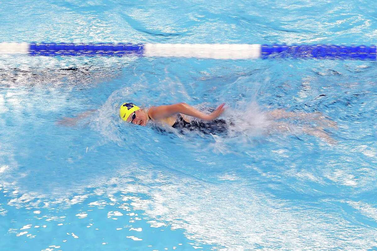 OMAHA, NEBRASKA - JUNE 15: Kaitlynn Sims of the United States competes in a preliminary heat for the Women's 200m individual medley during Day Three of the 2021 U.S. Olympic Team Swimming Trials at CHI Health Center on June 15, 2021 in Omaha, Nebraska. (Photo by Maddie Meyer/Getty Images)