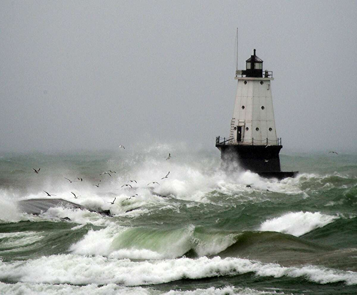 This courtesy image shows the Ludington North Breakwater Lighthouse. On April 13, 2018, large waves from Lake Michigan struck Ludington in the first documented case of a meteotsunami in the Great Lakes.
