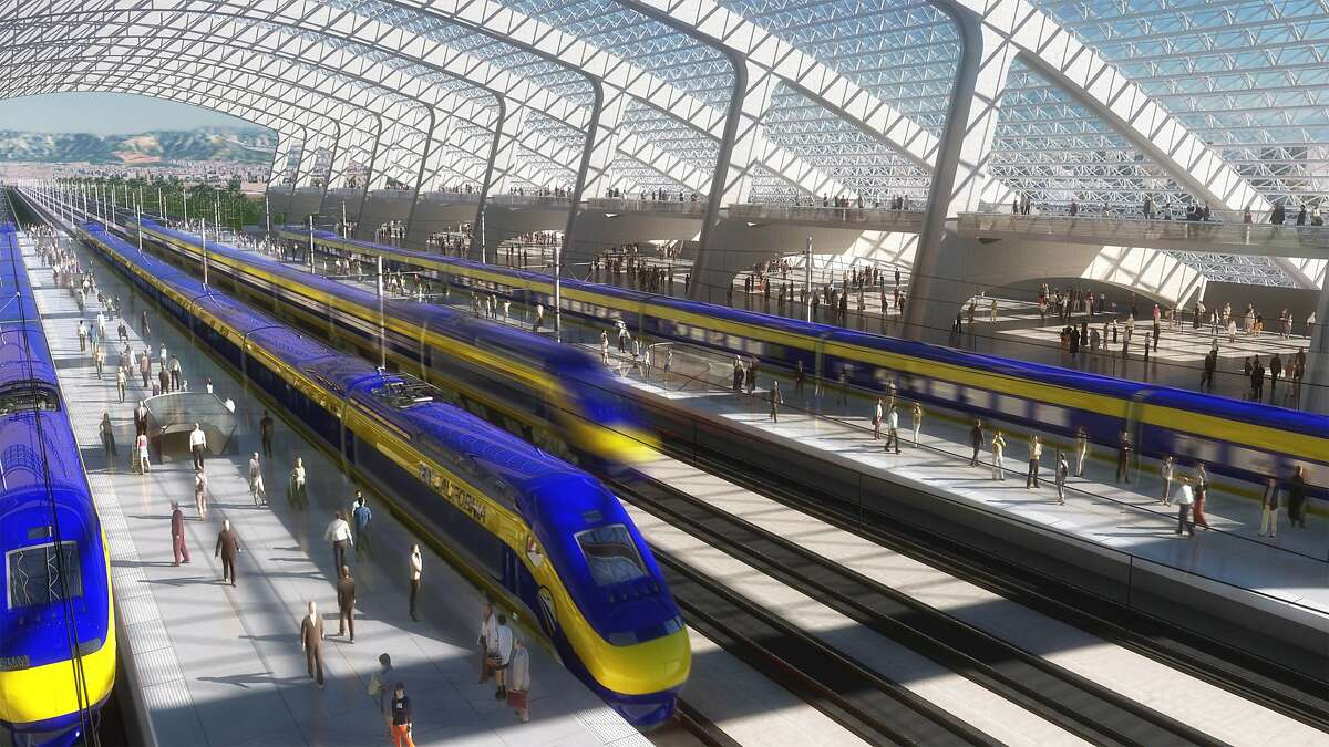 An artist's rendering envisions a station for a 220-mph bullet train as it might appear in California.
