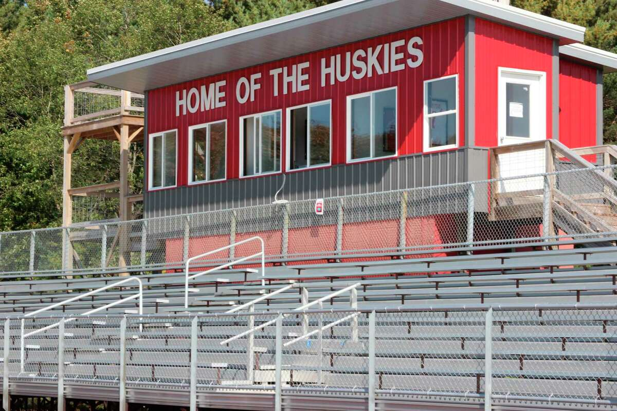 Work on replacing the stadium lights at Benzie Central Schools with LED lights that can light up the athletic field with fewer lights and less electricity is one of the many sinking fund projects delayed in 2020 starting in 2021. (File photo)