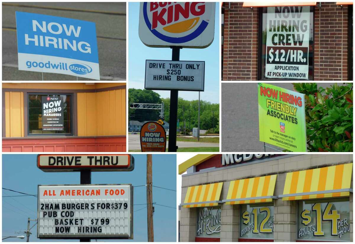 Business along U.S. 31 in Manistee display signsadvertising unfilled jobs. (Scott Fraley/News Advocate)