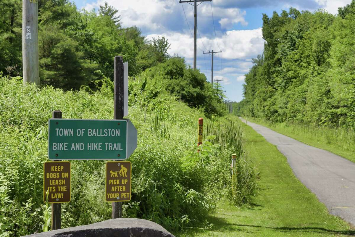 A view of the bike trail seen from Outlet Road on Wednesday, June 16, 2021, in Ballston Lake, N.Y. (Paul Buckowski/Times Union)