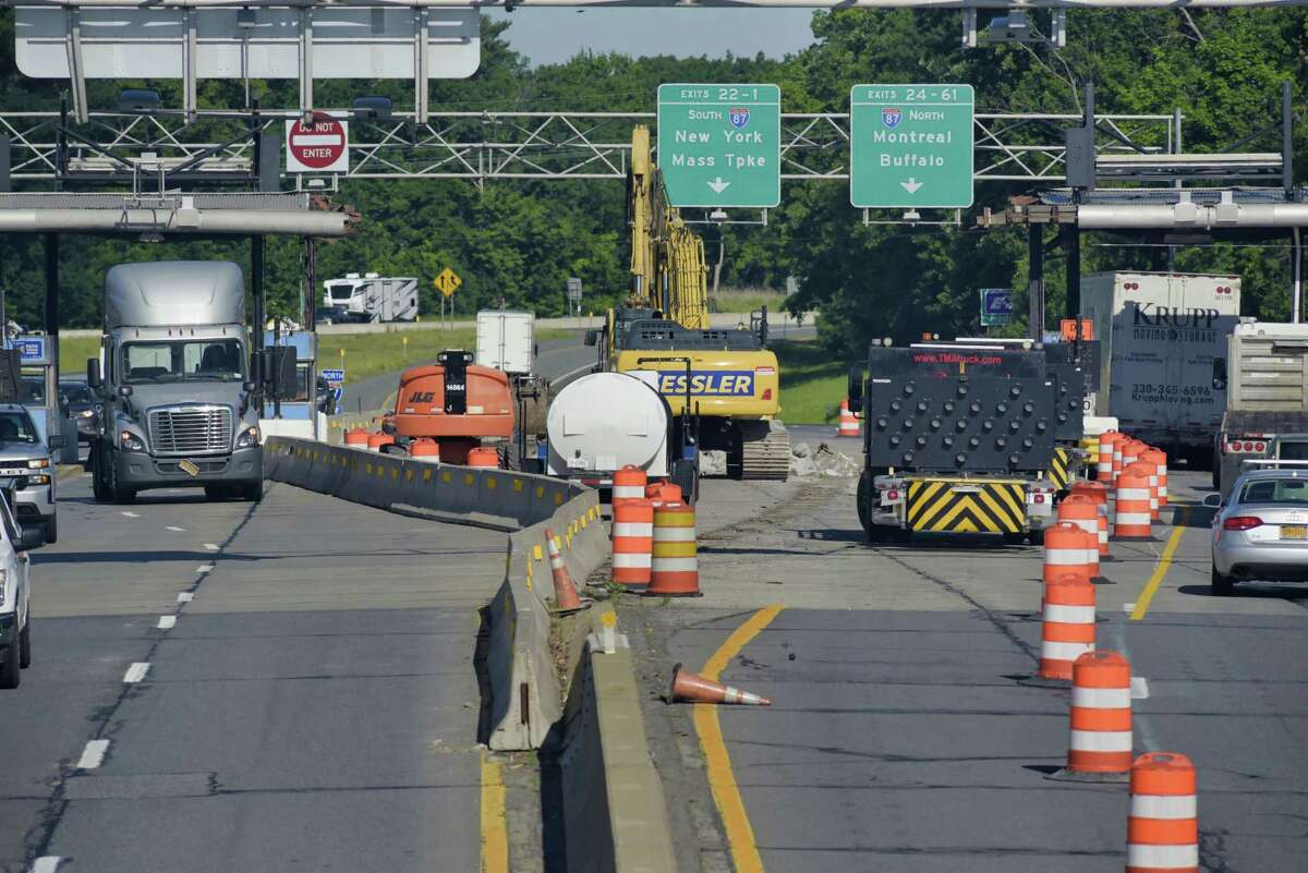A view of the Exit 23 toll plaza, which has been partially dismantled, seen here on Wednesday, June 16, 2021, in Albany, N.Y. Crews are in the process of removing this toll plaza, because of the new toll collection system New York State has. (Paul Buckowski/Times Union)