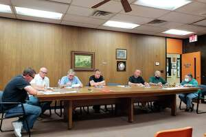 Caseville City Council members meet during their June meeting. The council passed their budget for the 2021-22 fiscal year that did not feature any increases to millages or taxes. (Robert Creenan/Huron Daily Tribune)