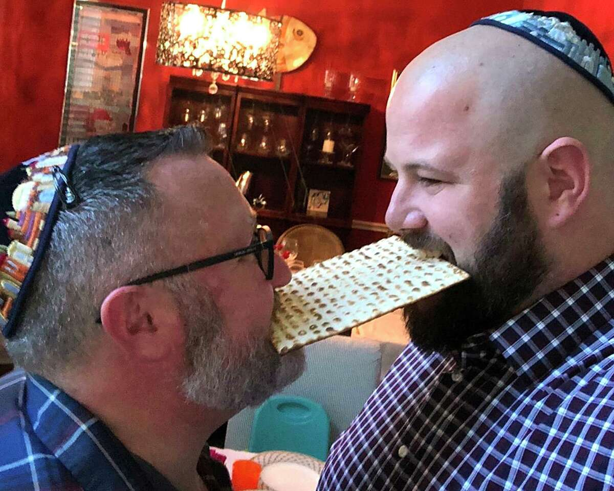 Jason, left, and Charlie Nuttall-Fiske at a holiday party. They are the owners of Bubby's Jewish Soul Food, scheduled for a September opening at Northwest Military and Wurzbach Parkway on the city's North Side near the Barshop Jewish Community Center.