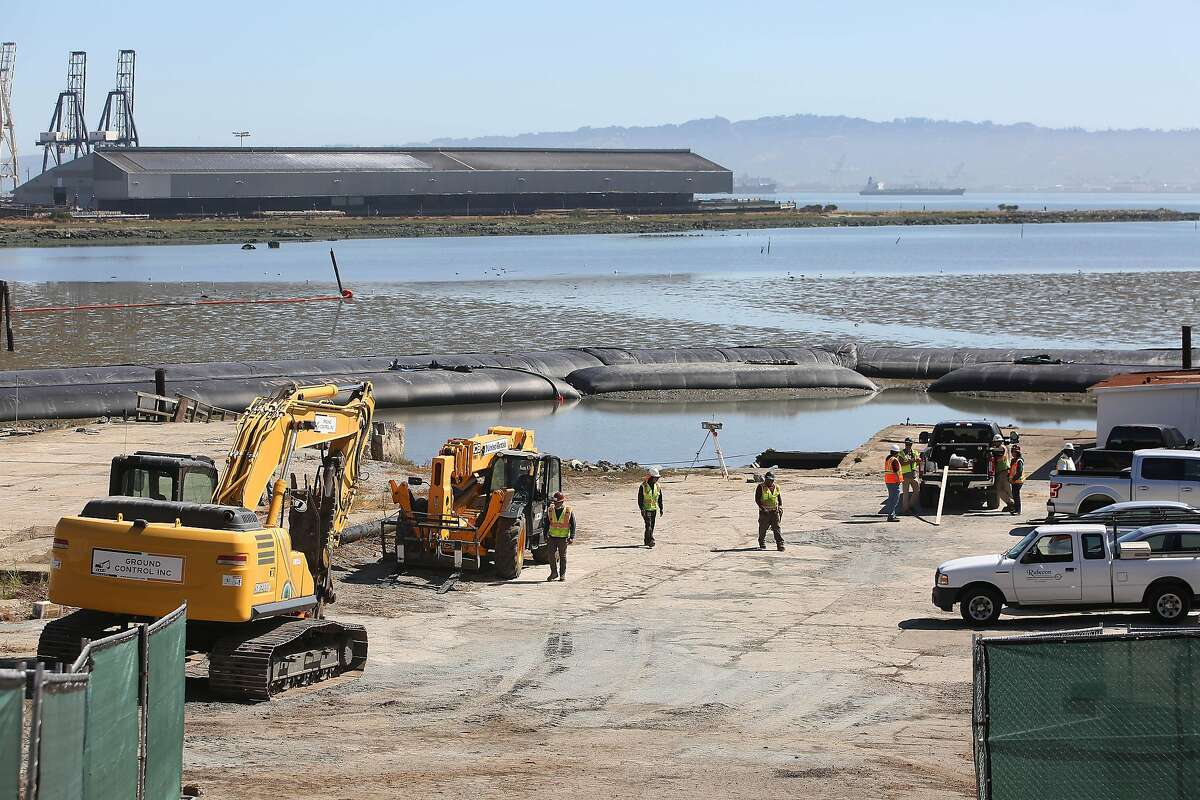 Rubecon and Ground Control employees work at the 900 Innes Remediation Project which will be part of India Basin Shoreline Park on Wednesday, June 16, 2021 in San Francisco, Calif.