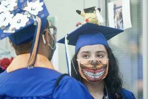 Anaeli Rivera wearing a creative mask at the Henry Abbott Technical High School graduation. Wednesday, June 16, 2021