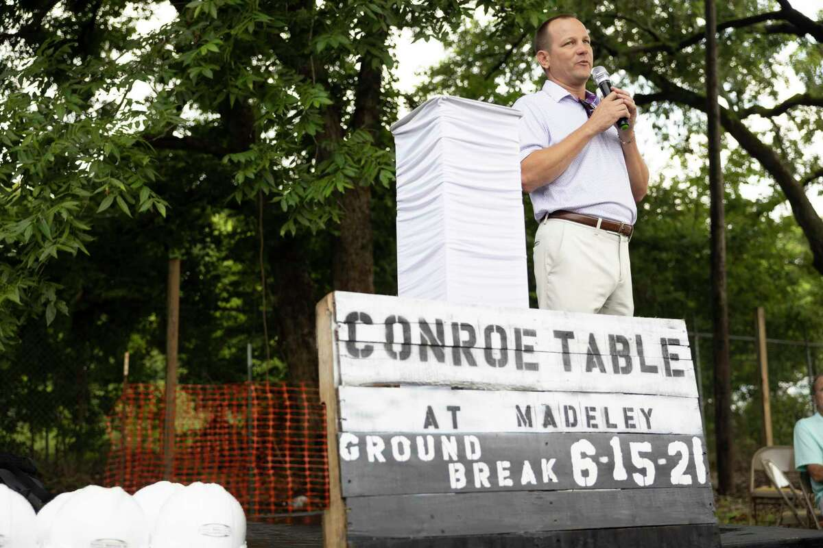 Conroe Mayor Jody Czajkoski speaks during a groundbreaking event at the future location of The Table at the Madeley, Tuesday, June 15, 2021, in Conroe. The new facility plans to to open up at the beginning of 2022.