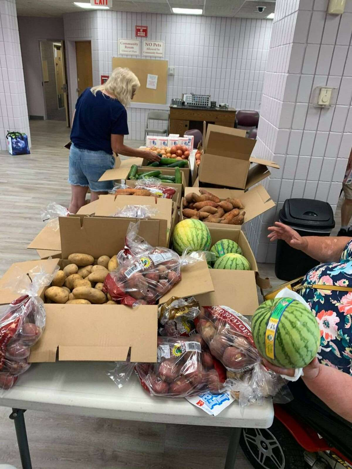 Food distribution, courtesy of Friendly Hands Food Bank & Foodshare CT.
