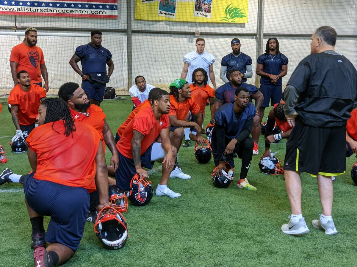 Albany Empire coach Ron Menas, far right, addresses his players Wednesday, June 16, 2021, after practice at Roots Sports Complex in Westfield, Mass. (Pete Dougherty/Times Union)