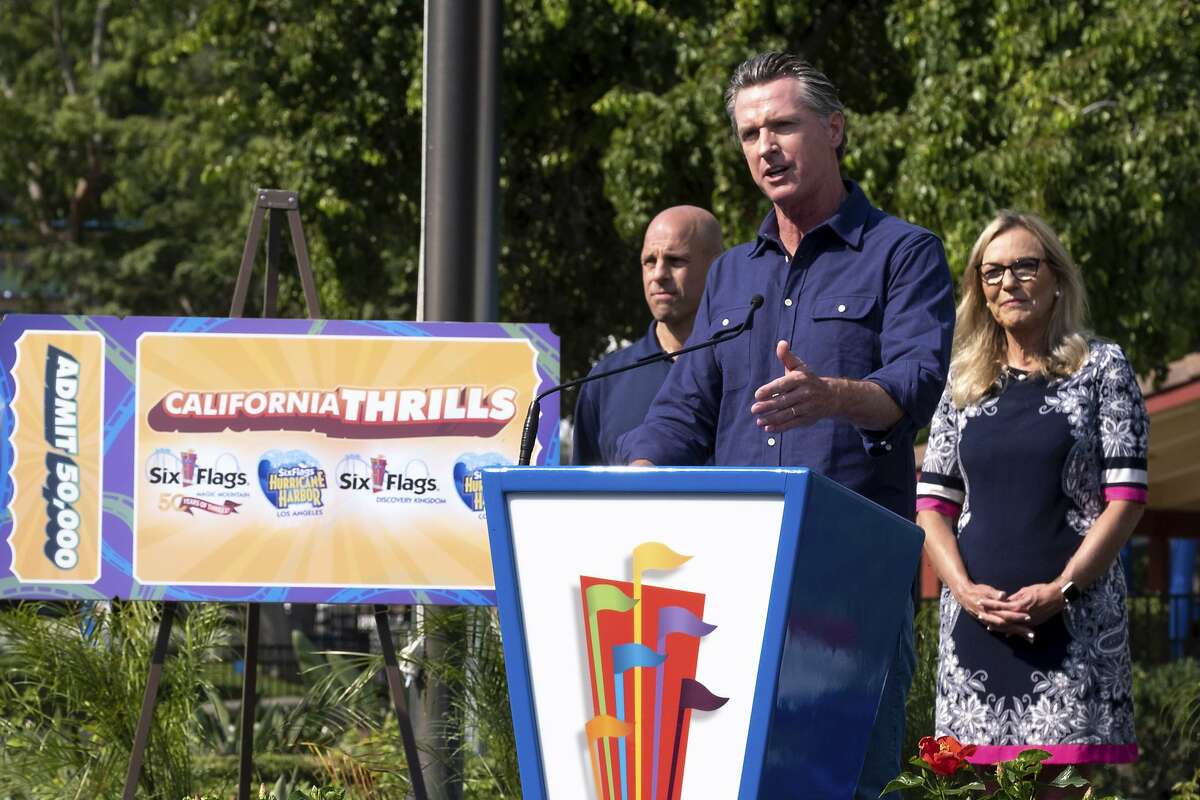 Gov. Gavin Newsom at Six Flags Magic Mountain in Santa Clarita announces the latest incentives in the state's effort to encourage COVID vaccinaton: a chance for free tickets to any Six Flags theme park for the next 50,000 Californians to get vaccinated at one of 65 participating clinics.