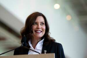 In this May 24, 2021 file photo, Gov. Gretchen Whitmer speaks at Steelcase in Grand Rapids, Mich. The Michigan Supreme Court on Friday, June 11 unanimously ordered the state elections board to certify a veto-proof initiative that would let Republican legislators wipe from the books a law Whitmer used to issue sweeping pandemic orders. (Cory Morse/The Grand Rapids Press via AP, File)