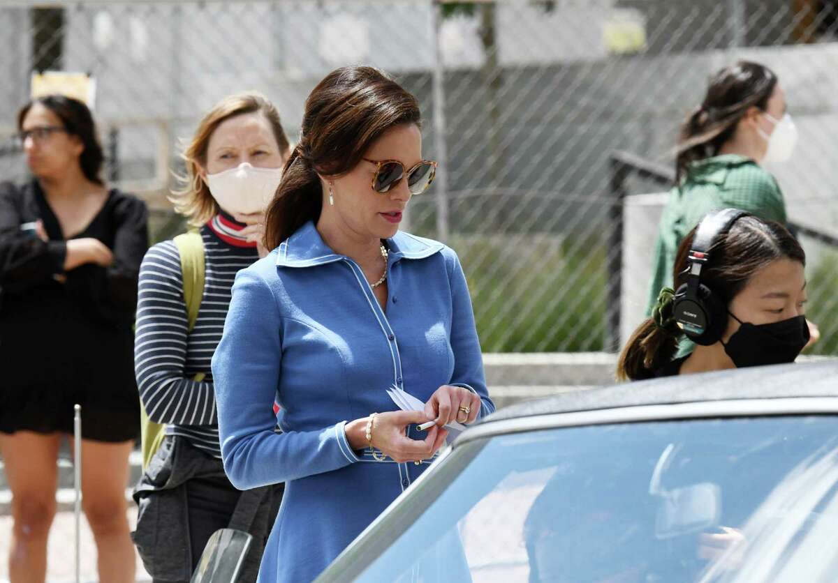 Actress Lena Headey, playing Dorothy Hunt, center, prepares to shoot a scene for HBO's 'The White House Plumbers' on Wednesday, June 16, 2021, outside the Capitol on State Street in Albany, N.Y. Headey stared in 'Game of Thrones' as Cersei Lannister. (Will Waldron/Times Union)