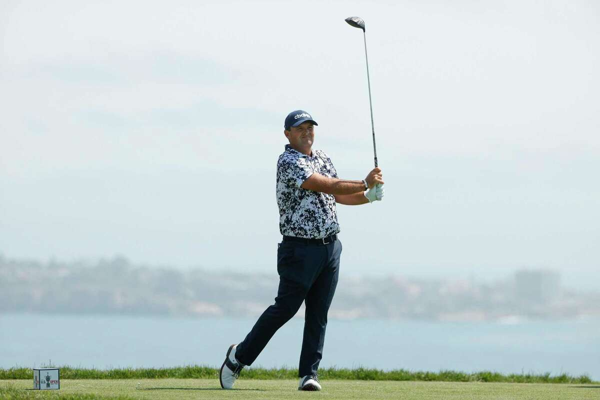 Patrick Reed plays his shot from the fourth tee during a practice round prior to the start of the U.S. Open at Torrey Pines Golf Course on Monday in San Diego.