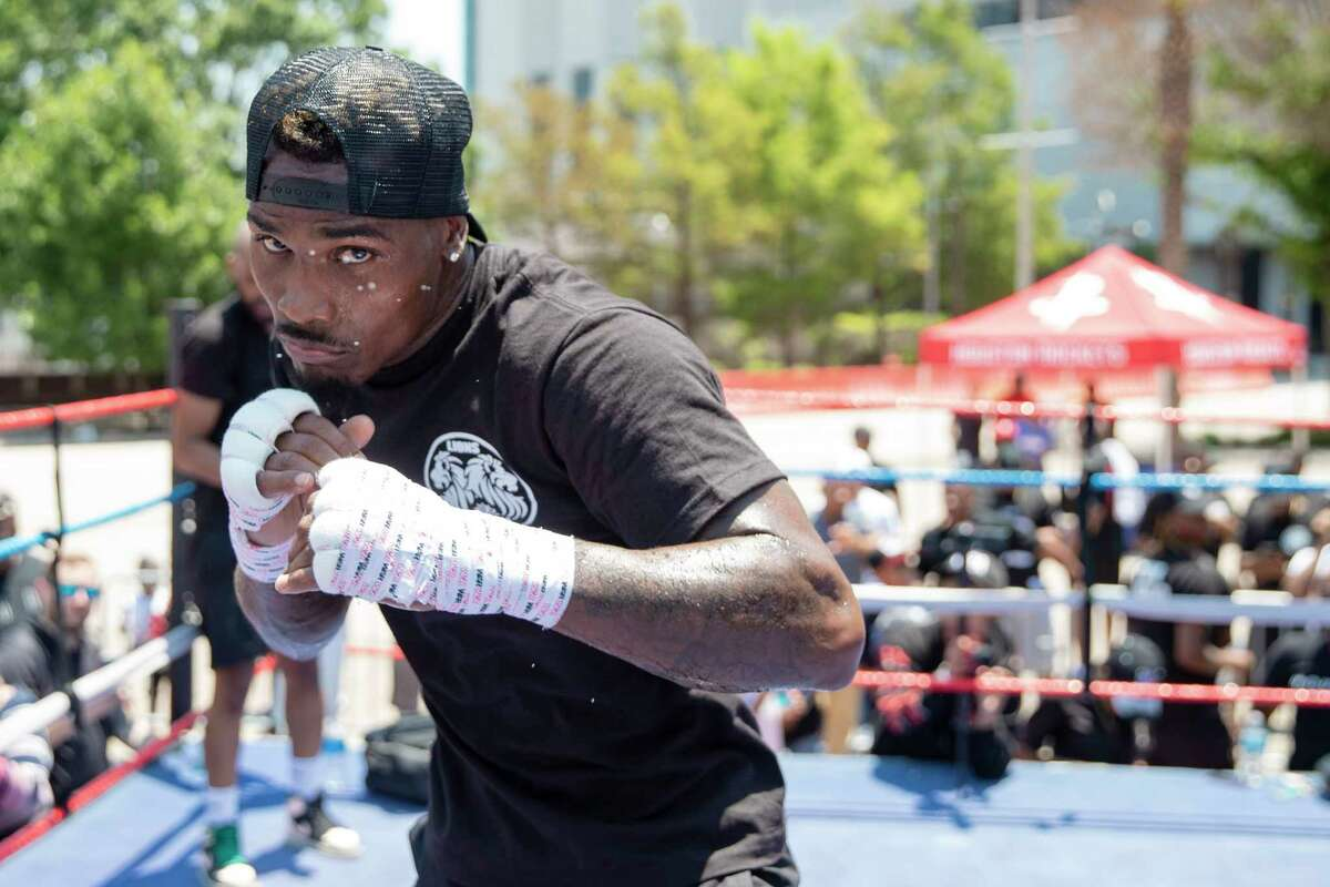 Jermall Charlo at an open work outside Houston's Toyota Center on Wednesday, June 16, 2021.