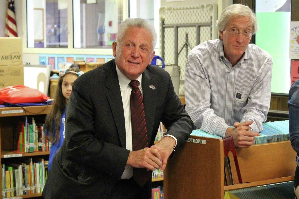 Mayor Harry Rilling and Council President Tom Livingston talk with third grade Marvin Elementary School students on Monday, June 10, 2019.