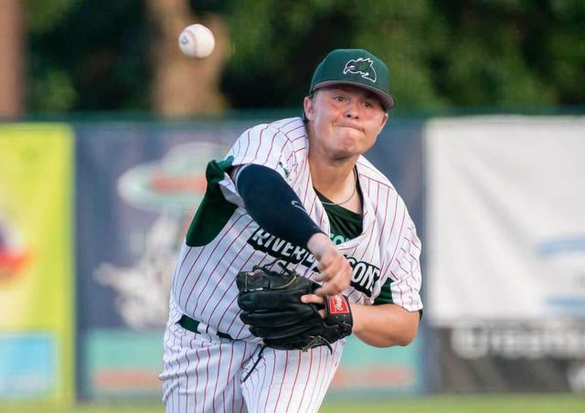 Pitcher Adam Stilts of the Alton River Dragons and Lewis and Clark Community College delivers to the plate in a recent game. He is also a graduate of Alton High School.