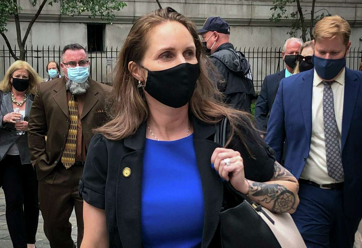 Natalie Edwards leaves court after receiving a six-month prison sentence for leaking confidential financial reports to a journalist at BuzzFeed.