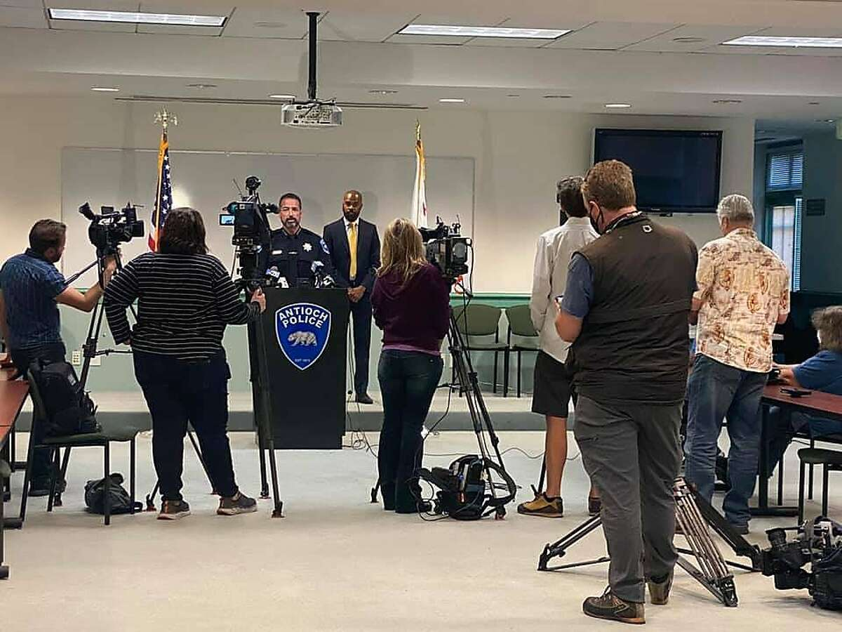 Antioch Police Chief Tammany Brooks and Mayor Lamar A. Thorpe announce a crackdown on sideshows on Wednesday, June 16, 2021.