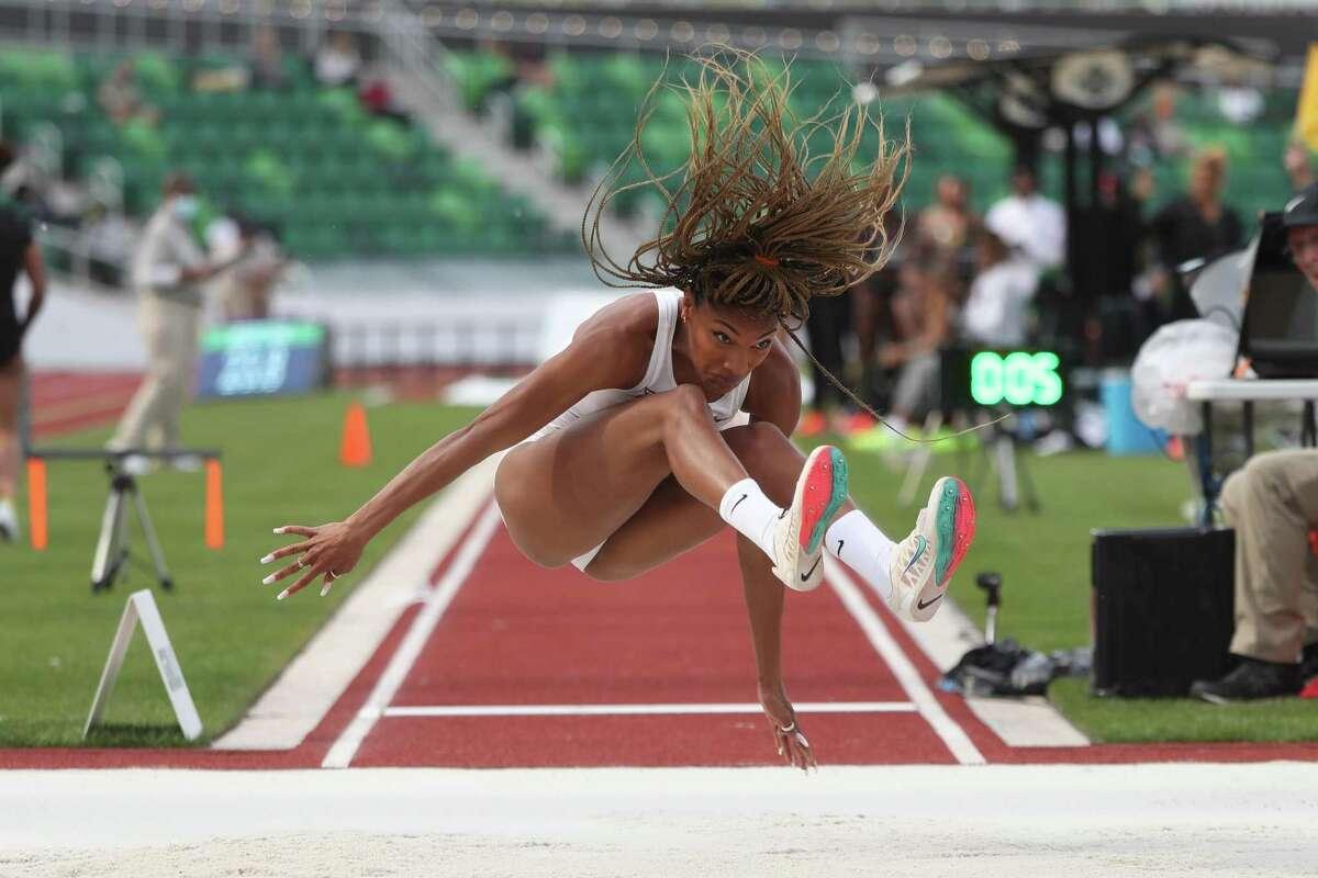 Tara Davis of the Texas Longhorns wins the long jump at the recent NCAA championships.