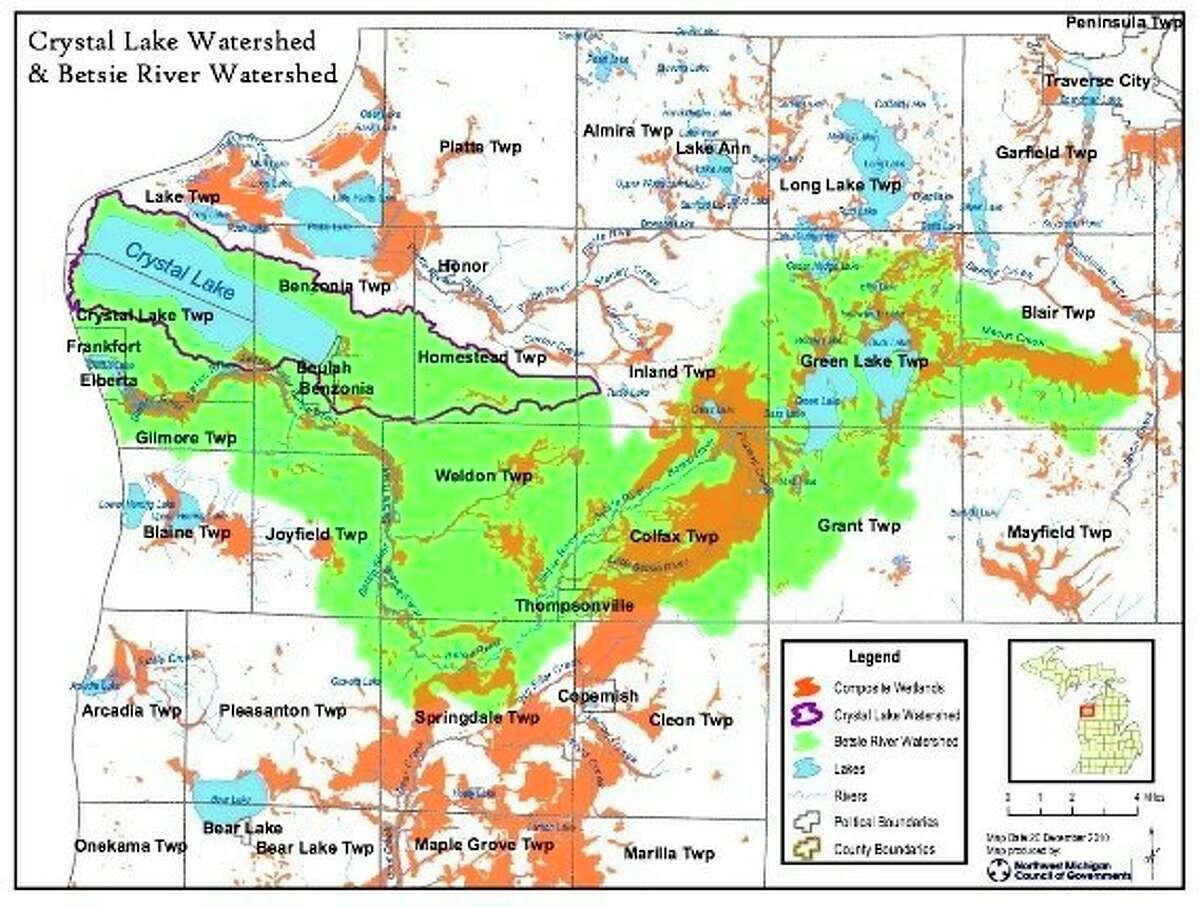 The Crystal Lake Watershed is over 43 square miles and extends east nearly to Thompsonville. (Courtesy Photo)