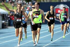 DES MOINES, IOWA - JULY 26: Craig Engels and Henry Wynne react as they cross the finish line in the Men's 1500 Meter semifinal during the 2019 USATF Outdoor Championships at Drake Stadium on July 26, 2019 in Des Moines, Iowa. (Photo by Jamie Squire/Getty Images)