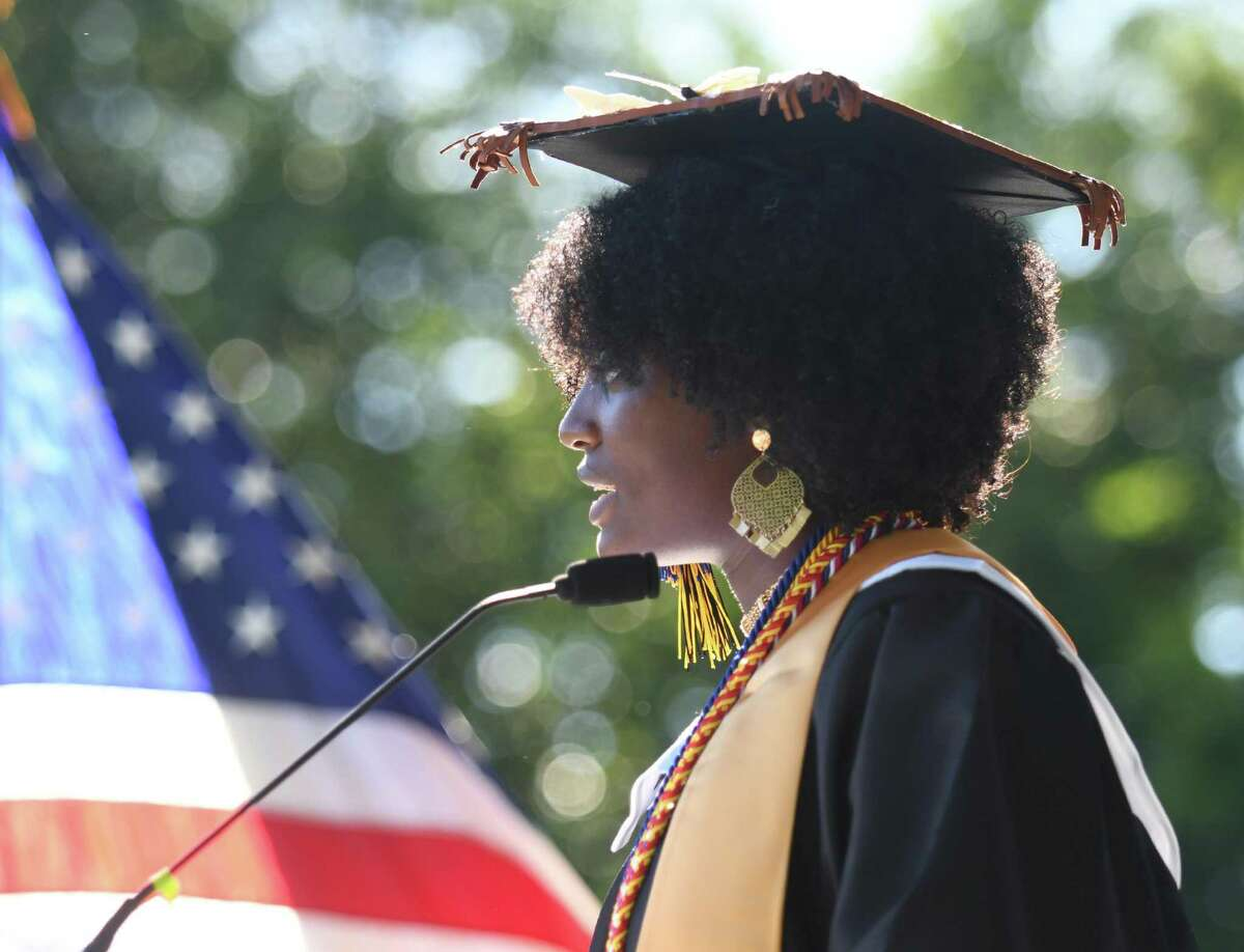 Carlee Reid delivers her remarks during the Academy of Information Technology & Engineering (AITE) 2020-2021 commencement ceremony at the AITE campus in Stamford, Conn. Wednesday, June 16, 2021.