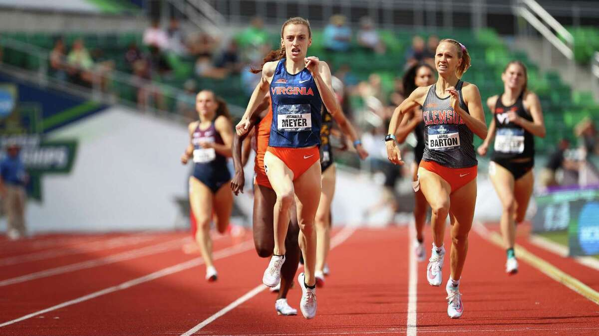The University of Virginia's Michaela Meyer wins the 800-meter race at the NCAA championships on Saturday, June 12, 2021 at the University of Oregon's Hayward Field in Eugene, Ore. Meyer is a native of Southbury, Conn. and a former standout at Pomperaug High School. EUGENE, OR - JUNE 12: during the Division I Men's and Women's Outdoor Track & Field Championships held at Hayward Field on June 12, 2021 in Eugene, Oregon. (Photo by Jamie Schwaberow/NCAA Photos via Getty Images)