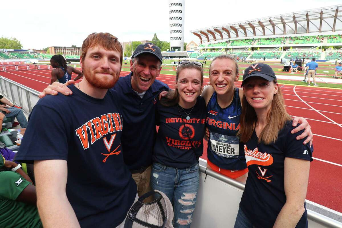 EUGENE, OR - JUNE 12: Michaela Meyer of the Virginia Cavaliers celebrates with family after winning the womens 800 meter race during the Division I Men's and Women's Outdoor Track & Field Championships held at Hayward Field on June 12, 2021 in Eugene, Oregon. (Photo by Jamie Schwaberow/NCAA Photos via Getty Images)