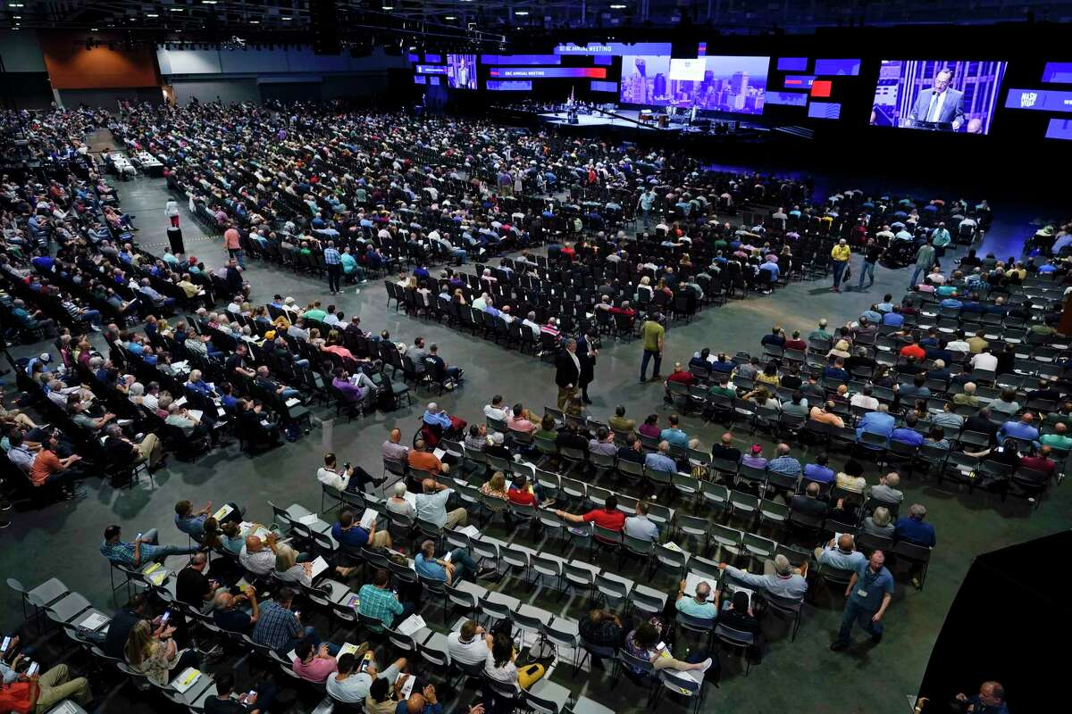 People attend the morning session of the Southern Baptist Convention annual meeting Wednesday, June 16, 2021, in Nashville, Tenn. (AP Photo/Mark Humphrey)