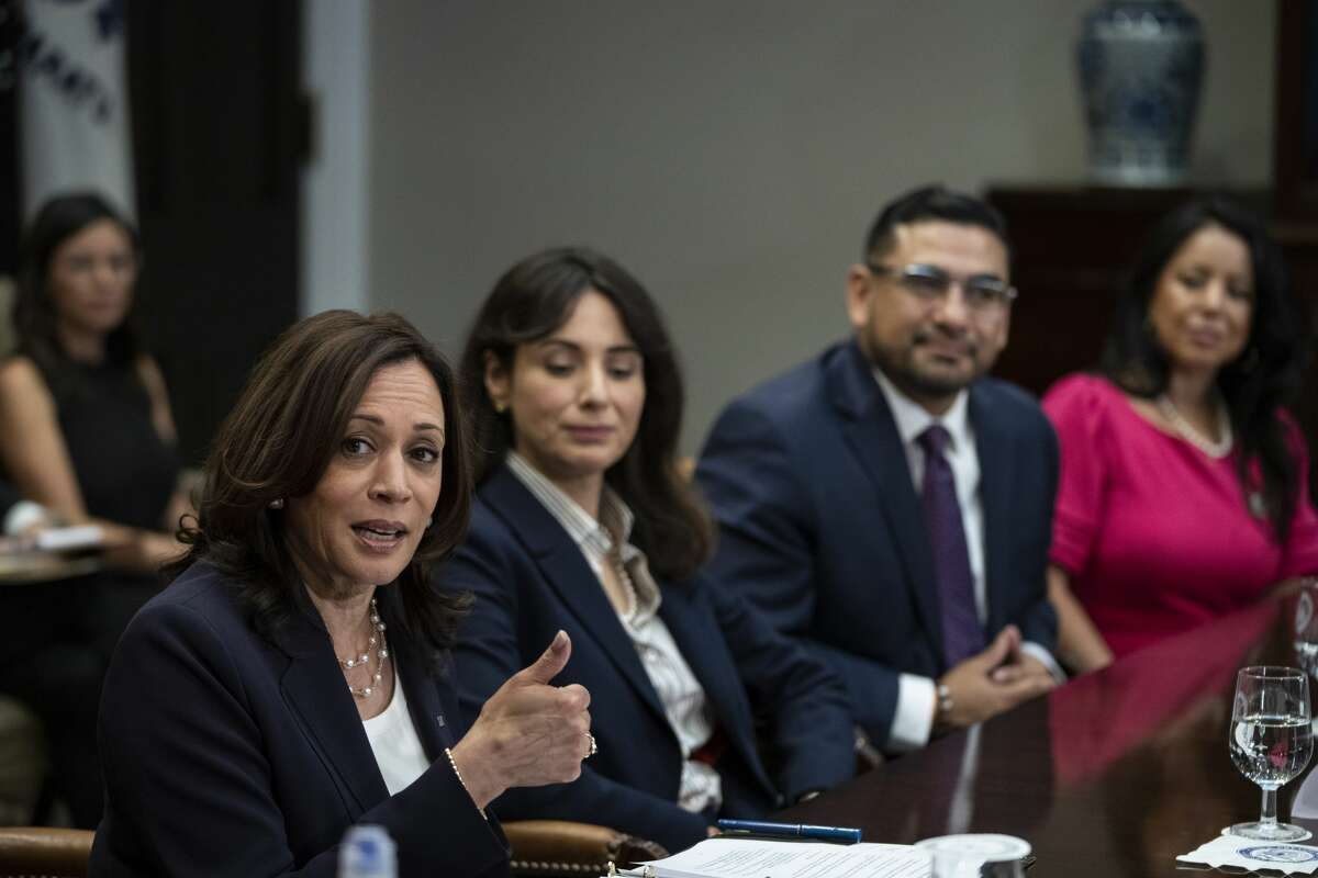 Vice President Kamala Harris speaks while meeting with Democratic members of the Texas Legislature in the Roosevelt Room of the White House June 16, 2021 in Washington DC.