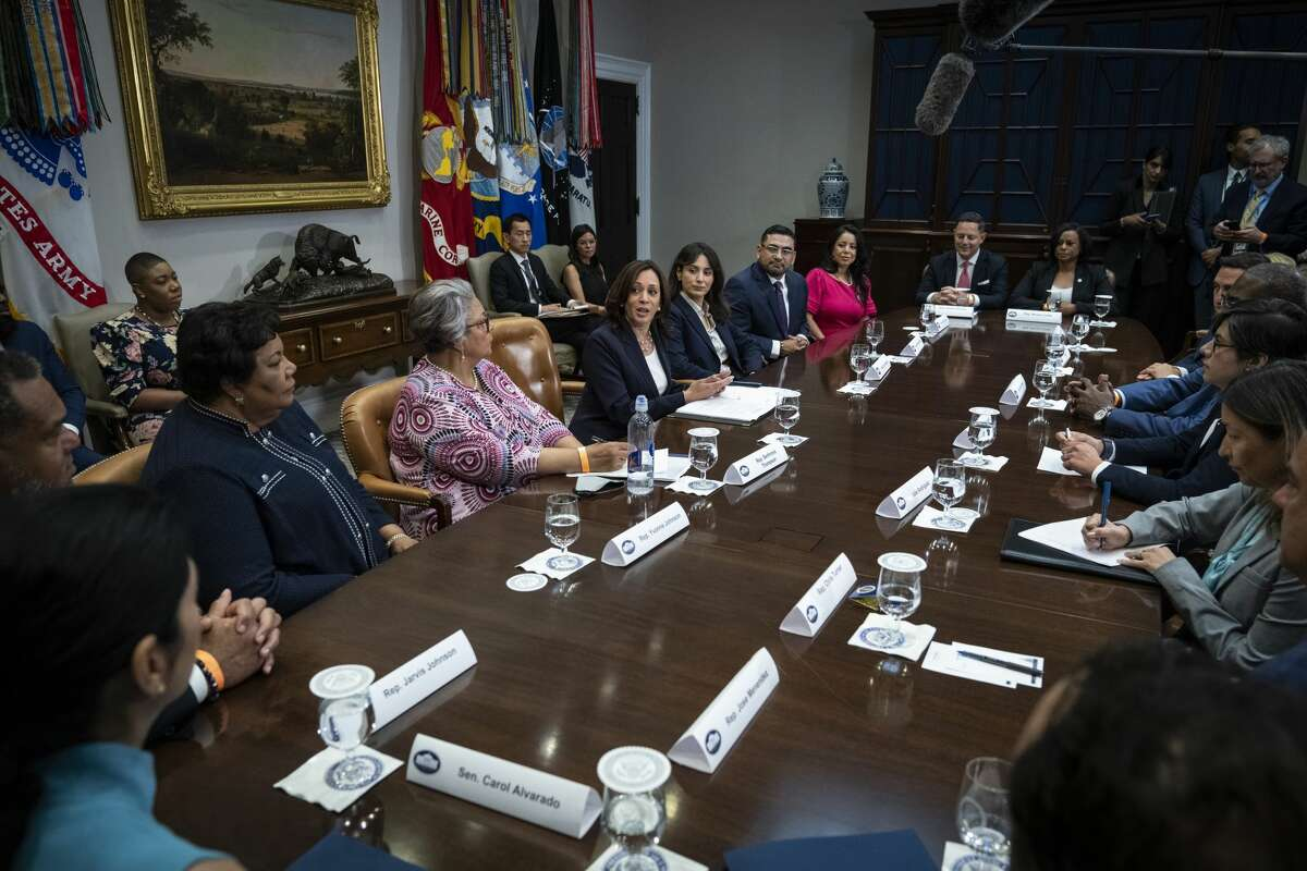 Vice President Kamala Harris speaks while meeting with Democratic members of the Texas Legislature in the Roosevelt Room of the White House June 16, 2021 in Washington D.C.