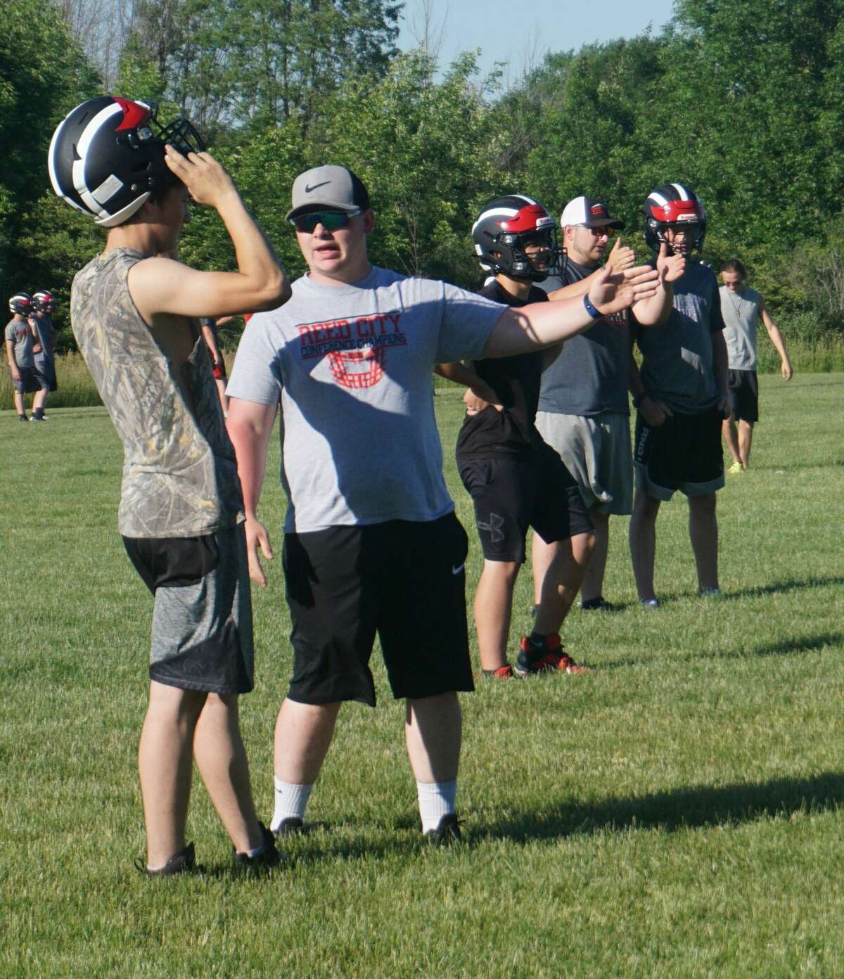 The Reed City football team continued its early preseason workouts with the second day of minicamp on Wednesday night.