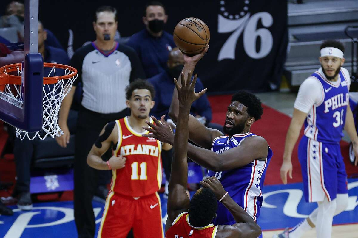 PHILADELPHIA, PENNSYLVANIA - JUNE 16: of the Eastern Conference Semifinals at Wells Fargo Center on June 16, 2021 in Philadelphia, Pennsylvania. NOTE TO USER: User expressly acknowledges and agrees that, by downloading and or using this photograph, User is consenting to the terms and conditions of the Getty Images License Agreement. (Photo by Tim Nwachukwu/Getty Images)