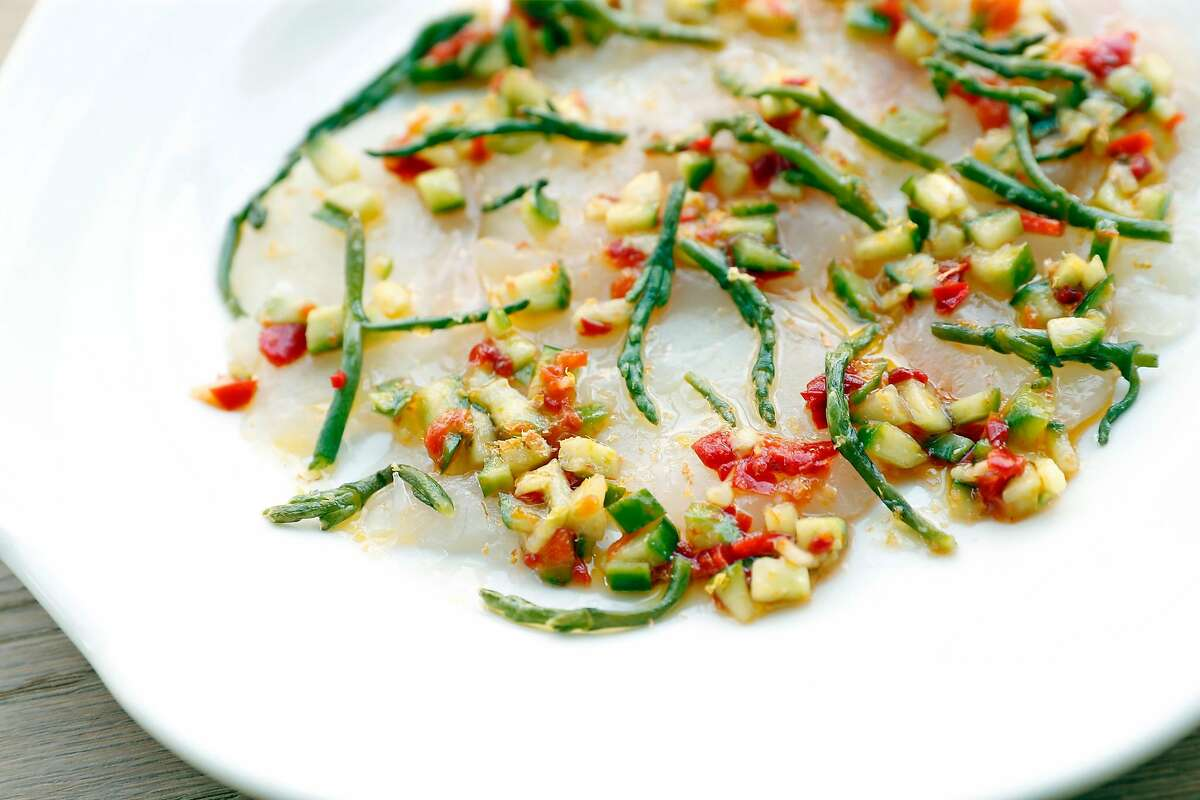 Halibut carpaccio at Tailor's Son on Fillmore Street in San Francisco, Calif., on Wednesday, June 16, 2021.